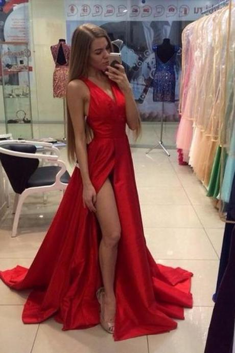 Sexy V Neck Long Red Prom Dresses, Long Party Dress, Split Front Prom Dresses, A Line Cheap Red Evening Dresses, Cheap Prom Party Dress