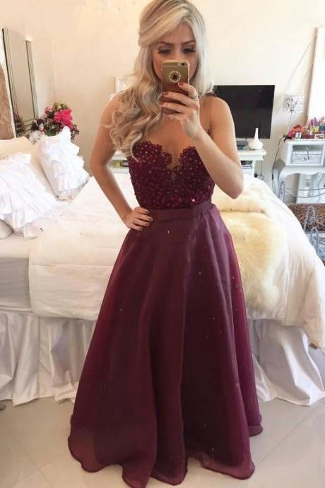 Burgundy Prom Dress Long, Sexy Sheer Burgundy Party Dress, A Line Long Prom Dress, Vintage Burgundy Evening Dress, Illusion Neck Long Prom Dresses, Beaded Applliques Prom Dress, Cheap Prom Dress With Waist Sash,
