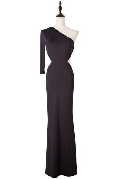 Sexy One Shoulder Long Black Birthday Party Dresses, 2017 Long Sheath Backless Prom Dresses, Long Sleeve Cheap Prom Party Dresses, Cheap Party Dress With Bandage Back, Simple Design Cheap Black Club Dresses, New 2017 Party Dress With Waist Sash