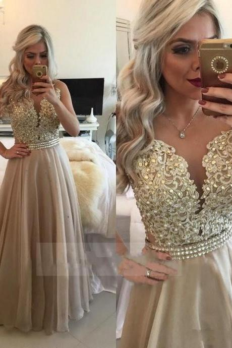 Vintage Champagne Prom Dresses, Illusion Back Long Sequins Party Dress, 2017 Sexy Sheer Prom Dress Long, Beaded Sash Pageant Gala Dress, 2017 Long Prom Dress, See Through Formal Champagne Evening Dress 2017, A Line Floor Length Sexy Prom Dress 2017, Plus Size Appliques Evening Dresses 2017