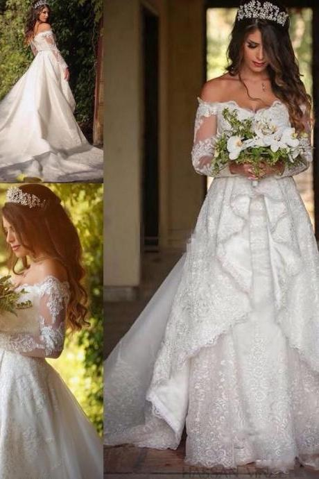 2017 Garden Style Wedding Dress Off The Shoulder Bridal Dresses Long Sleeve Wedding Gowns Customize