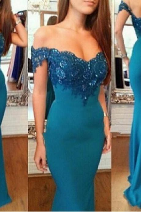 Blue Lace Sequins Off The Shoulder Prom Dress 2017 Vestidos De Festa Sweep Train Satin Long Party Dress Sexy Mermaid Gowns