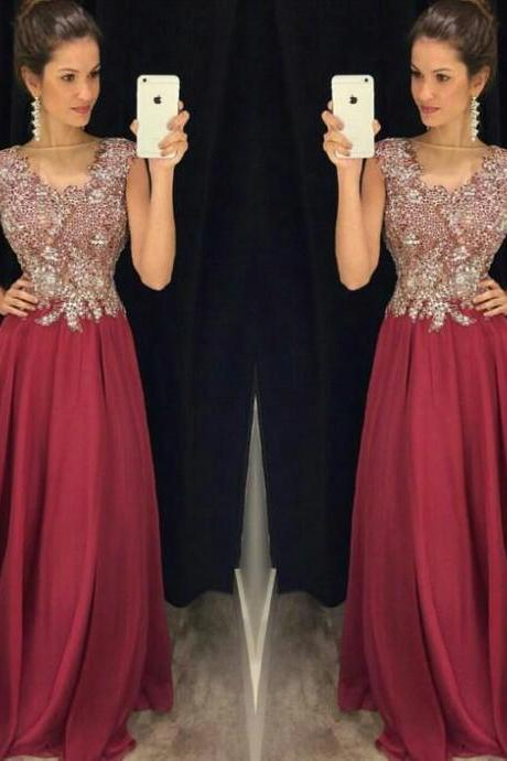 2017 Sheer Burgundy Appliques Prom Dresses Cap Sleeve Long Chiffon Sexy Formal Party Dress Plus Size A Line Floor Length Gala Gowns
