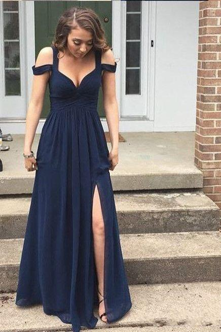Sexy Split Side Navy Blue Party Dress Off The Shoulder Prom Gowns Long Simple Style Chiffon A Line Floor Length