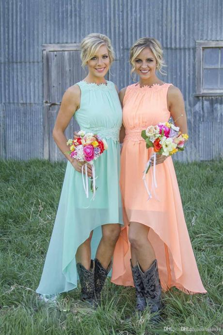 2017 Mint Orange High-low Cheap Bridesmaid Dresses under $100 Chiffon Maid of Honor Dresses A-Line Crew Appliques Pleated Short Party Dresses