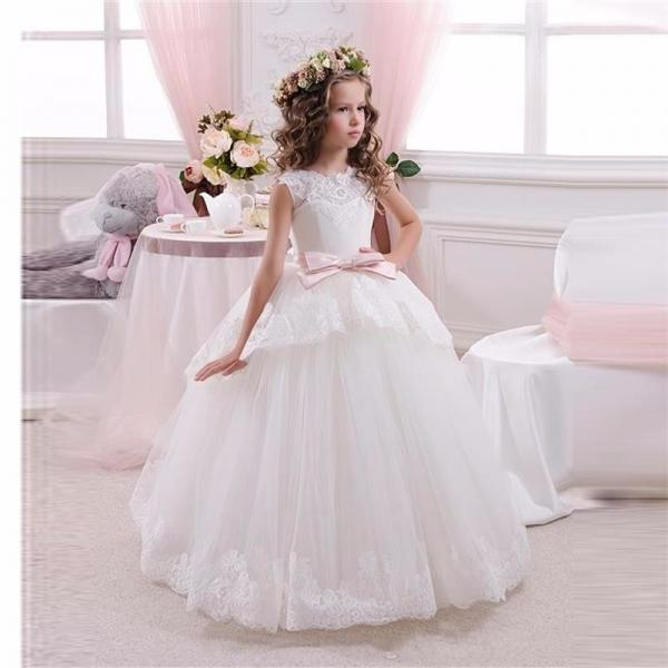 2016 Princess Flower Girls Dress, White First Communion Dresses For Girls, Cheap Ball Gown Girls Party Dresses, Wedding Party Dresses For Girls, New Cheap Flower Girls Dress With Pink Sash, Floor Length Lace Girs Pageant Dress, Formal Kids Wear Gowns 2016