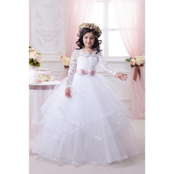 Princess Lace Flower Girls Dress With Long Sleeve, 2016 Cute Ball Gown Girls Party Dresses, Ball Gown Tulle Formal Kids Wear, Cheap Flower Girls Dresses, Princess First Communion Dress For Kids, White Lace Flower Girl Dress With Pink Sash, Cute Girls Wedding Party Dresses 2016