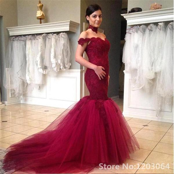 Off The Shoulder Burgundy Lace Prom Dresses, Vintage Burgundy Tulle Evening Dresses,Sexy V Neck Short Cap Sleeve Long Evening Dress, Short Cap Sleeve Burgundy Party Gala Dress, Court Train Backless Pageant Formal Dresses