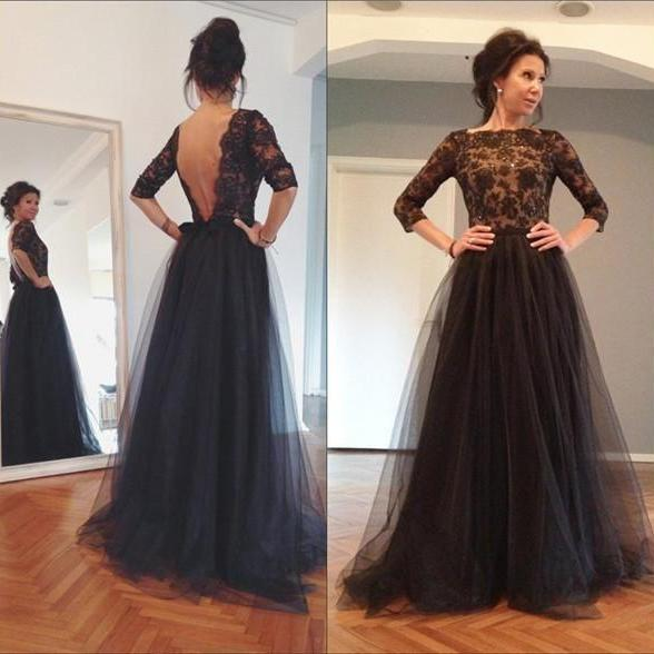 Two Pieces Prom Dresses 2017, Black Appliques Top Fuchsia Skirt ...