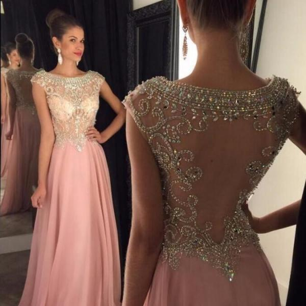 Transparent Back Elegant Pink Beaded Sexy Prom Dress Cap Sleeve Long Chiffon Formal Evening Dresses Plus Size Party Gowns