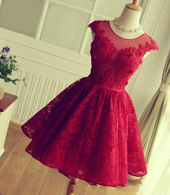 Short Burgundy Homecoming Dress 2016 Lace Homecoming Dress Vintage