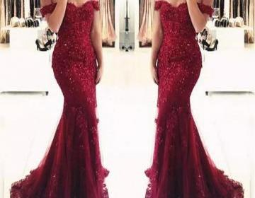 Junoesque Burgundy Lace Mermaid Prom Dresses Appliques Off the shoulder Beaded Sequins Long Prom Gowns Evening Dresses
